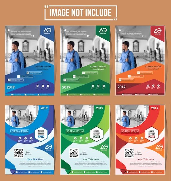 Cover set flyer brochureontwerp met kleurrijke Premium Vector