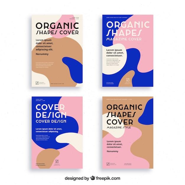 Cover sjablooncollectie met organische vormen Gratis Vector