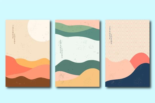 Covercollectie met minimalistisch japans ontwerp Premium Vector