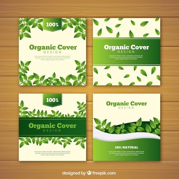 Covercollectie met platte bladeren Gratis Vector