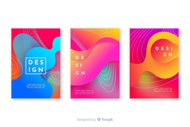 Covers met kleurrijk vloeibaar effect Gratis Vector