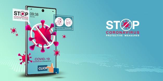 Covid-19 banner op mobiele applicatie en webapplicatie Premium Vector