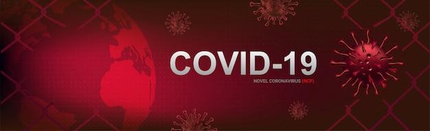 Covid-19-banner, uitbraak van coronavirus en griep in 2020. waarschuw gevallen van covid-19-stammen als een pandemie. ziekte cellen illustratie concept Premium Vector
