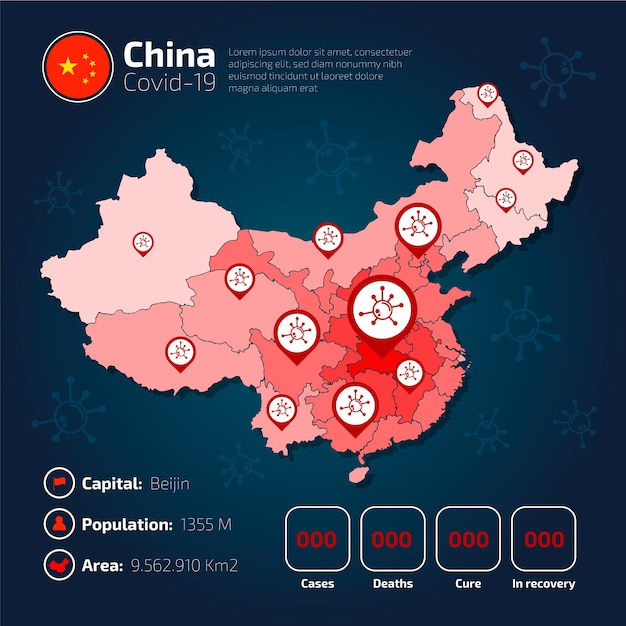 Covid-19 china landkaart infographic Gratis Vector