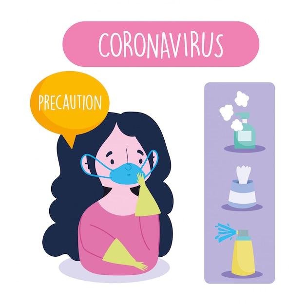 Covid 19 coronavirus infographic, voorzorgsmeisje met maskerhandschoenen en aanbevelingen voor preventie Premium Vector