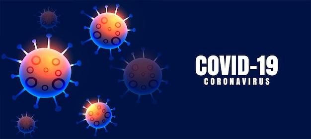 Covid-19 coronavirusziekteachtergrond met zwevende virussen Gratis Vector