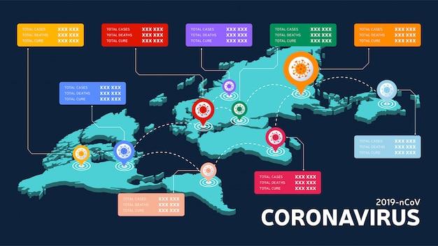 Covid-19, covid 19 isometrische wereldkaart bevestigde gevallen, genezing, dodenrapport wereldwijd wereldwijd. coronavirusziekte 2019 situatie-update wereldwijd. kaarten tonen de situatie en de achtergrond van de statistieken Premium Vector