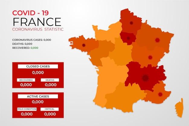 Covid-19 frankrijk besmet met virus infographic Gratis Vector