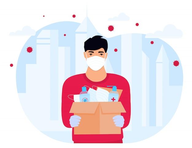Covid-19. humanitaire hulp. levering van medische beschermingsmaskers en ontsmettingsmiddelen. coronavirus-epidemie. bezorger die pakket levert Premium Vector