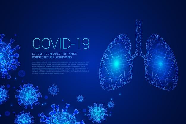 Covid-19 in blauwe tinten met longen Gratis Vector
