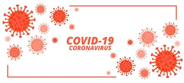 Covid-19 nieuwe coronavirusbanner met microscopische virussen Gratis Vector