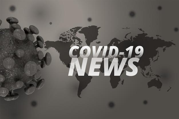 Covid-19 nieuws en updates achtergrond met 3d-coronavirus Gratis Vector
