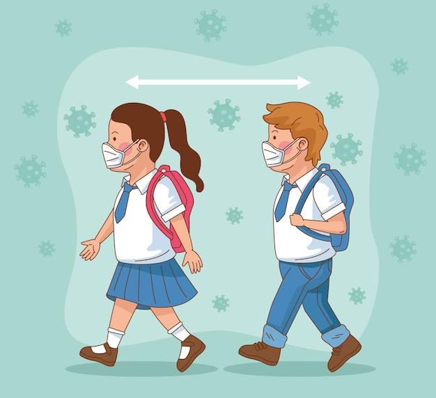 Covid preventief op schoolscène met kleine studentenpaar die met sociale afstandsvector lopen Premium Vector