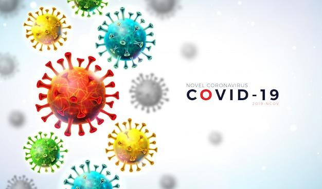 Covid19. coronavirus-uitbraakontwerp met vallende viruscel en typografiebrief op lichte achtergrond. Gratis Vector
