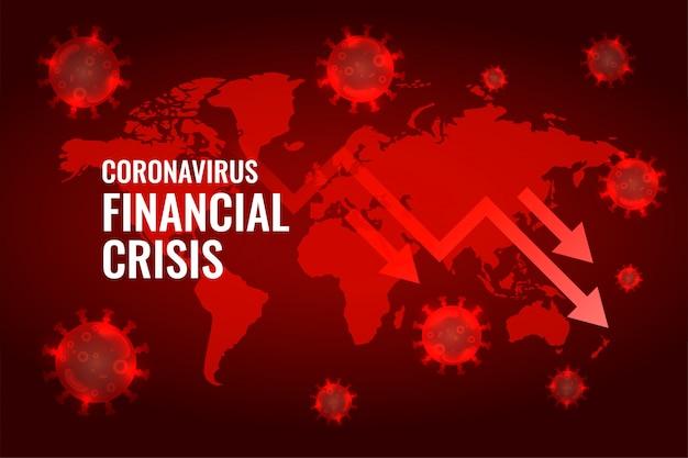 Covid19 coronavirus wereldwijde economie val pijl achtergrond Gratis Vector