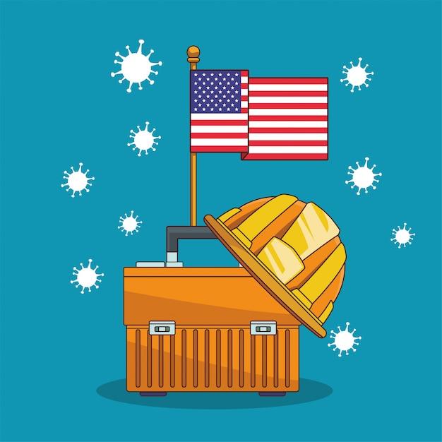 Covid19 pandemische deeltjes met amerikaanse vlag en gereedschapskist Premium Vector