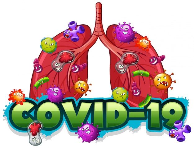 Covid19-tekensjabloon met menselijke longen vol virussen Gratis Vector