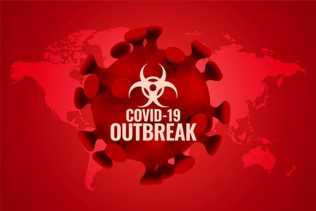 Covid19-uitbraakachtergrond in rood kleurenschema Gratis Vector