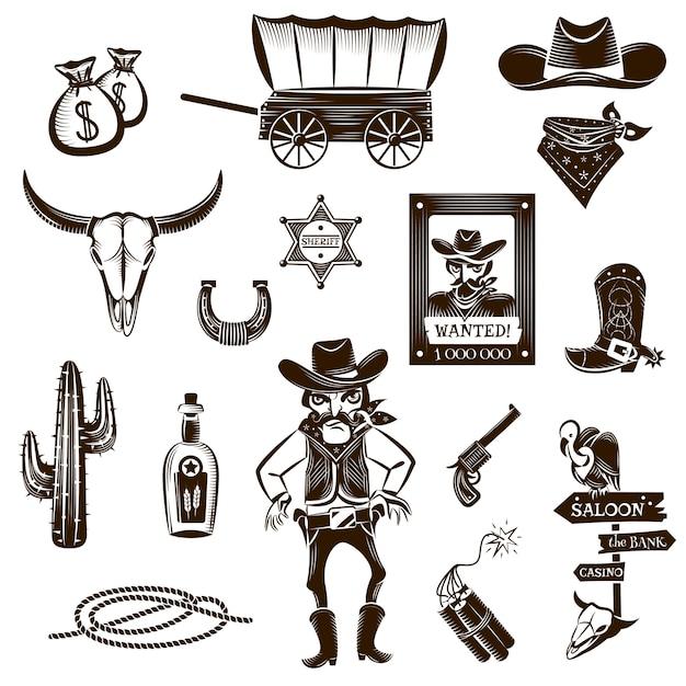 Cowboy black white icons set Gratis Vector