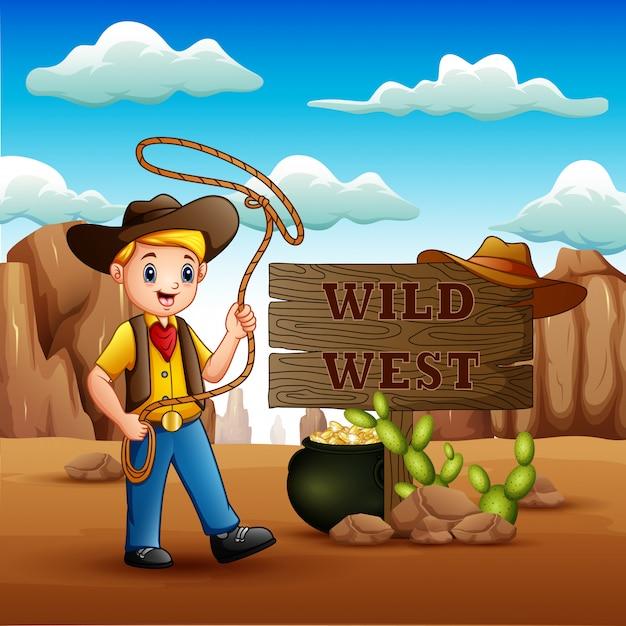 Cowboy die een lasso op wilde het westenachtergrond tollen Premium Vector