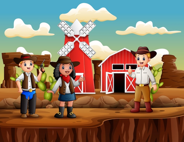 Cowboy en cowgirl op de achtergrond van de boerderij Premium Vector