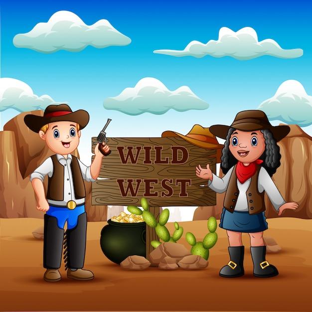 Cowboy en veedrijfster op de achtergrond van rotsachtige woestijn Premium Vector
