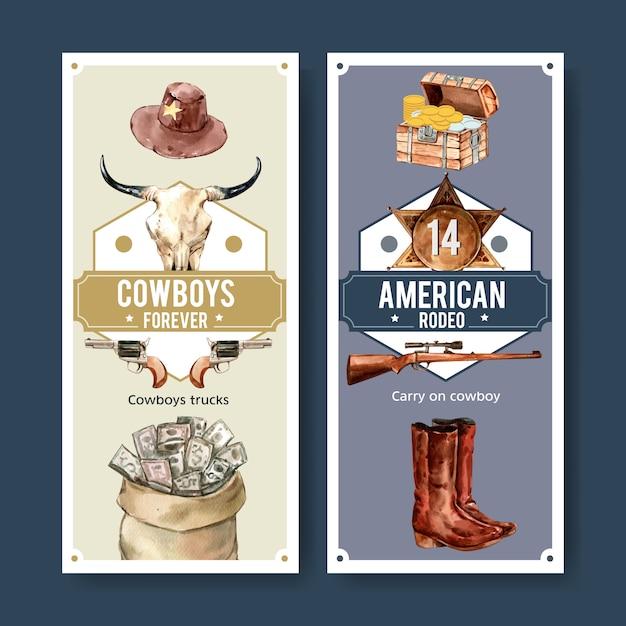Cowboy flyer met koe schedel, pistool, geld, borst, badge Gratis Vector