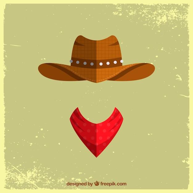 Cowboy hoed en sjaal concept Gratis Vector