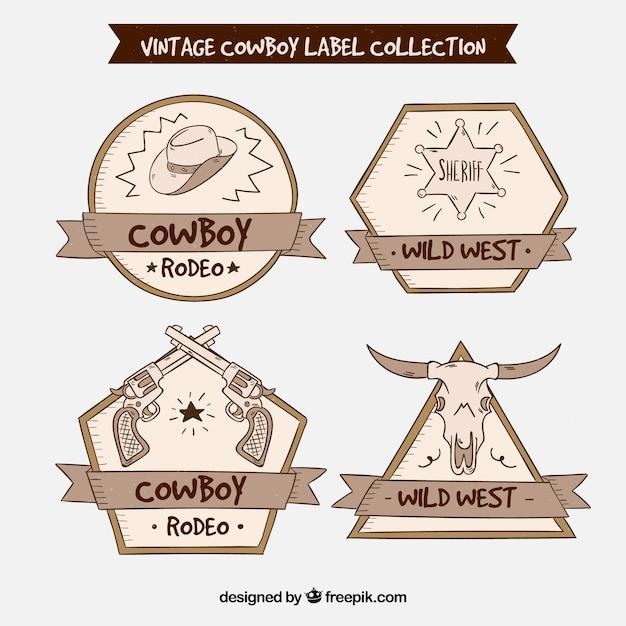Cowboy label collectie van vier Gratis Vector