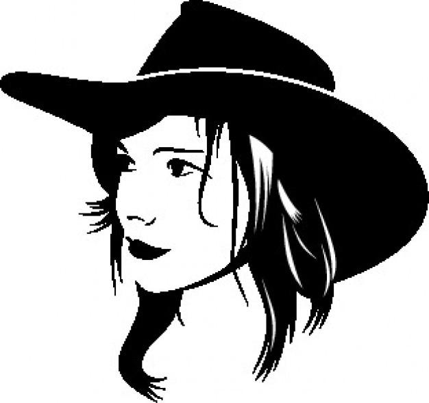 Cowboy meisje gezicht met hoed Gratis Vector