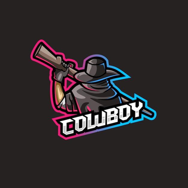 Cowboy met wapenillustratie Premium Vector
