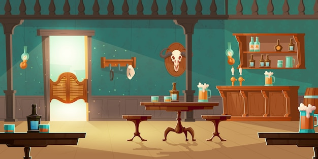 Cowboy salon westerse retro bar leeg interieur Gratis Vector