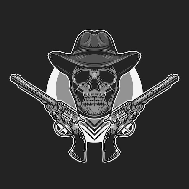 Cowboy schedel monochroom vectorillustratie Premium Vector