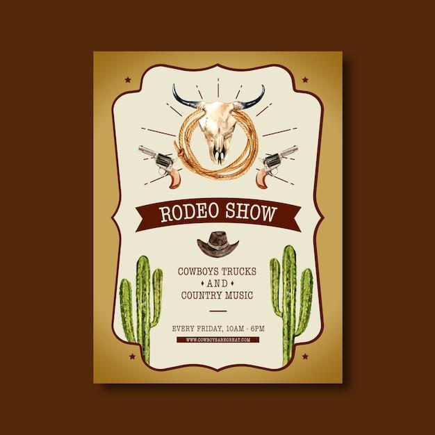 Cowboyaffiche met koeschedel, cactus, hoed Gratis Vector