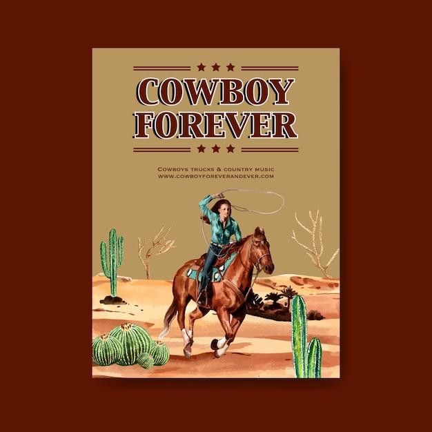 Cowboyaffiche met veedrijfsters, cactus Gratis Vector