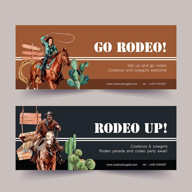 Cowboybanner met paard, mens, cactus Gratis Vector