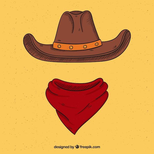 Cowboyhoed en sjaal Gratis Vector