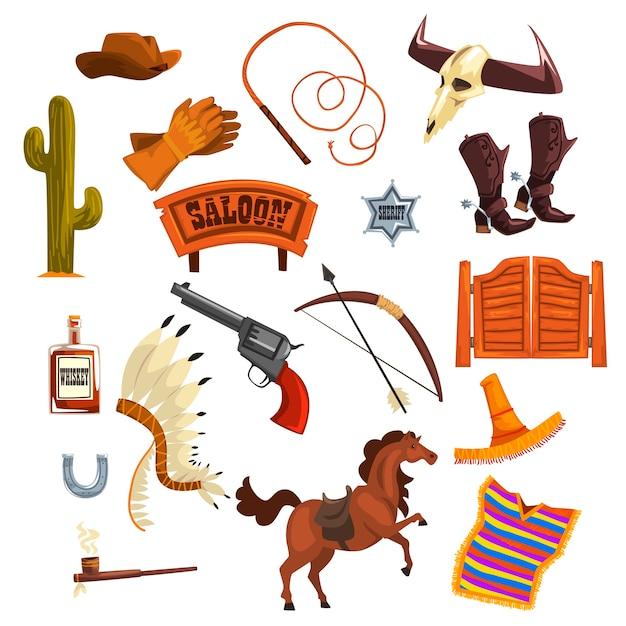 Cowboys accessoires en symbolen illustraties op een witte achtergrond Premium Vector