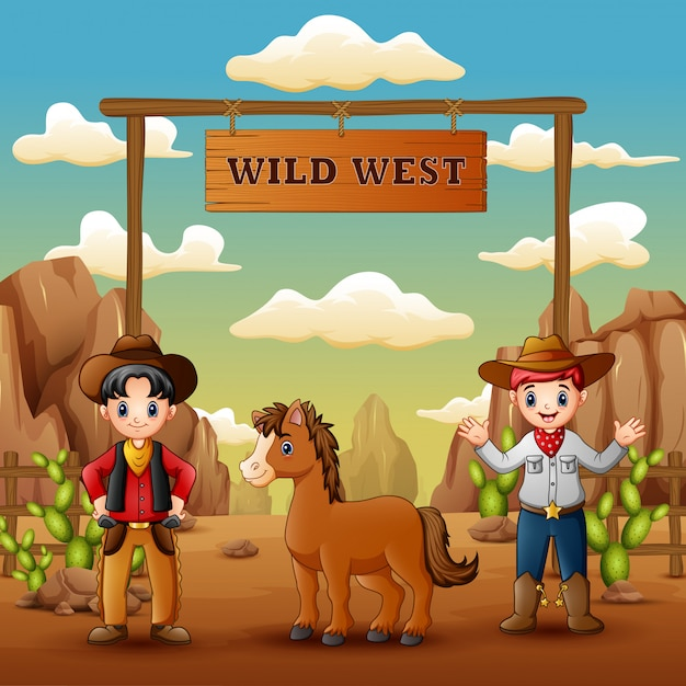 Cowboys met paard in de ingang van het wilde westen Premium Vector