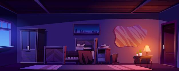 Cowboyslaapkamer in rustiek huis bij nacht Gratis Vector
