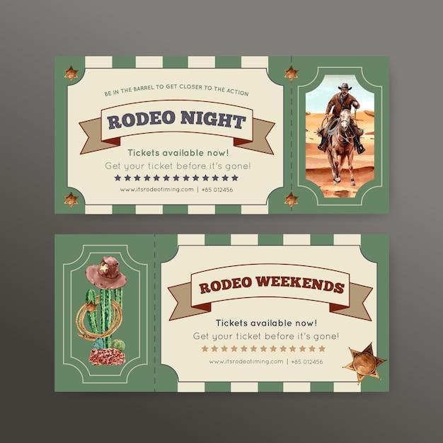 Cowboyticket met paard, cactus, hoed, woestijn Gratis Vector