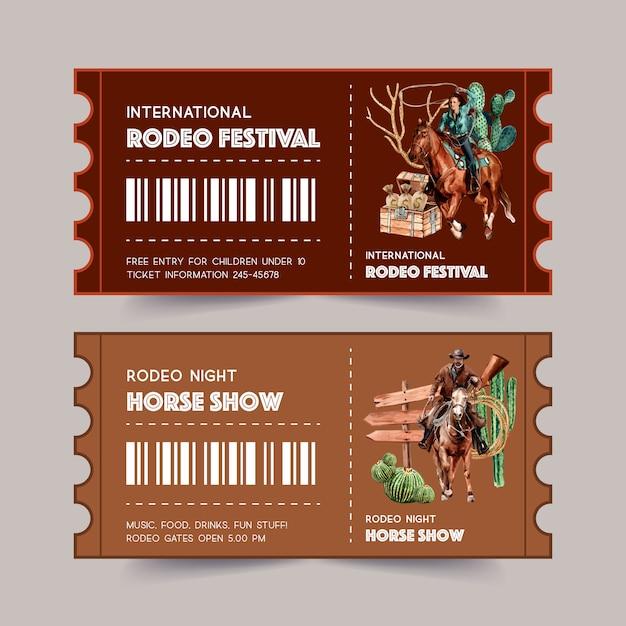 Cowboyticket met vrouw, touw, cactus, borst, paard Gratis Vector
