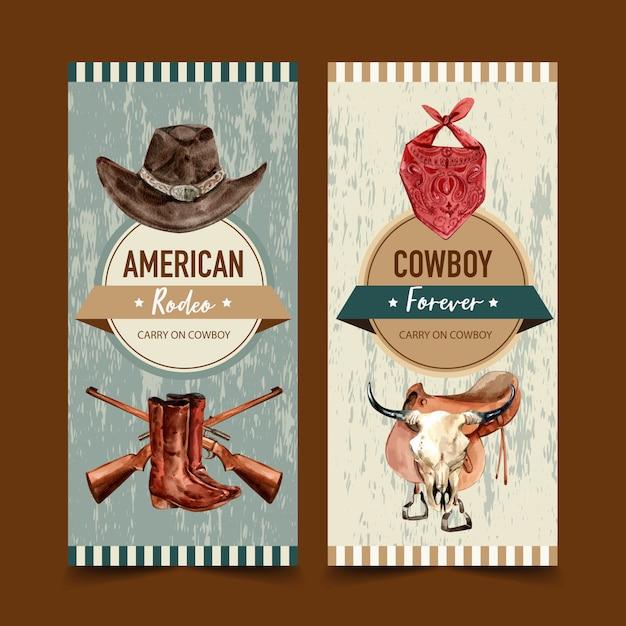 Cowboyvlieger met hoed, sjaal, pistool, laarzen, koeienschedel Gratis Vector