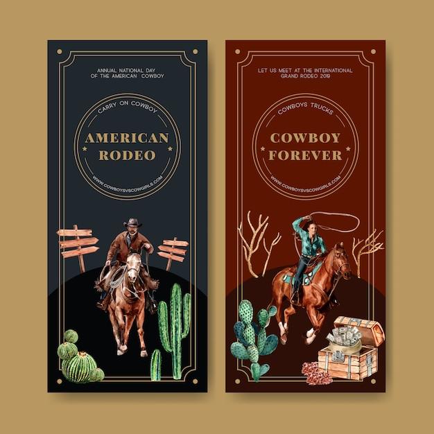 Cowboyvlieger met paard, cactus, borst, geld Gratis Vector