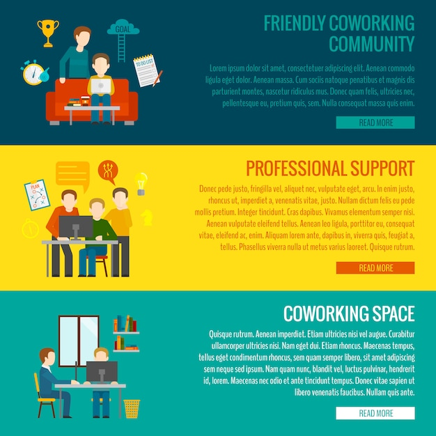 Coworking center-banner Gratis Vector