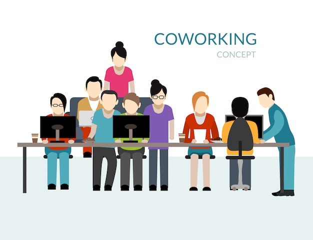 Coworking center concept Gratis Vector
