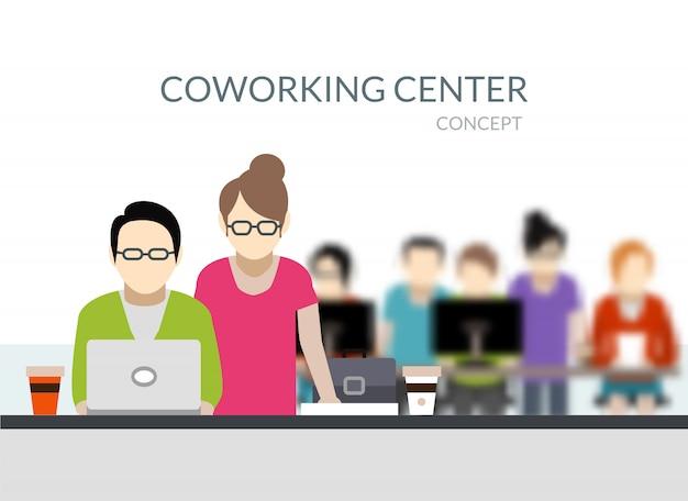 Coworking center-samenstelling Gratis Vector