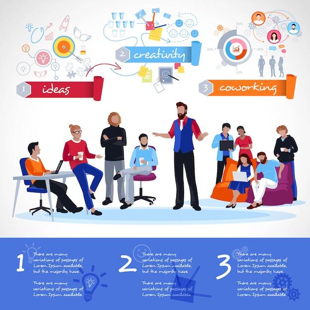 Coworking infographics-sjabloon Gratis Vector