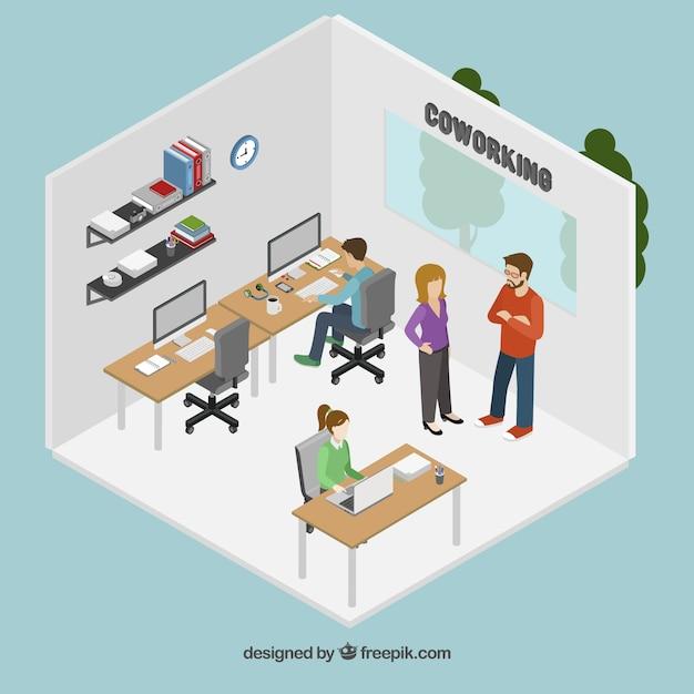 Coworking kantoor Gratis Vector