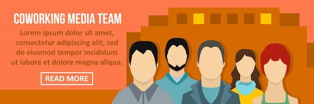 Coworking media team banner sjabloon horizontaal concept Premium Vector
